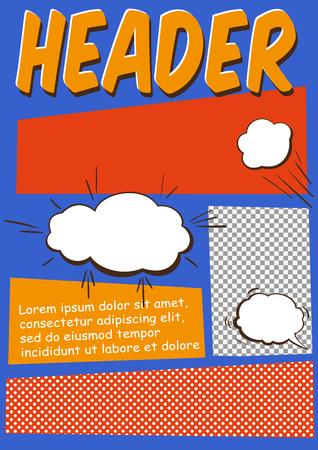Illustration pour Editable Comics Page or Flayer Template With Comics Elements - image libre de droit