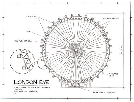 Illustration pour Architectural  Technical Drawing of London Eye Millennium Wheel - image libre de droit