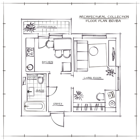Illustration pour Architectural Hand Drawn Floor Plan.One Bedroom Apartment - image libre de droit