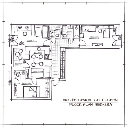 Ilustración de Architectural Hand Drawn Floor Plan.Three Bedrooms Apartment - Imagen libre de derechos
