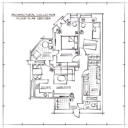 Ilustración de Architectural Hand Drawn Floor Plan.Two Bedrooms Apartment - Imagen libre de derechos