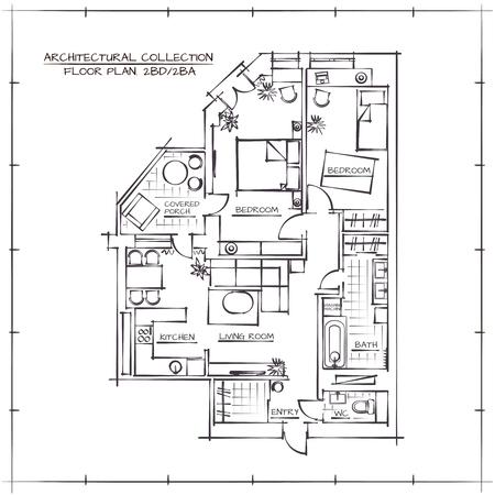 Illustration pour Architectural Hand Drawn Floor Plan.Two Bedrooms Apartment - image libre de droit