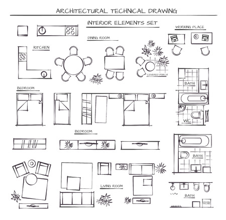 Ilustración de Professional Architectural Vector Set Of Interior Elements. Plan View - Imagen libre de derechos