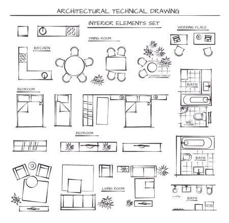 Illustration pour Professional Architectural Vector Set Of Interior Elements. Plan View - image libre de droit