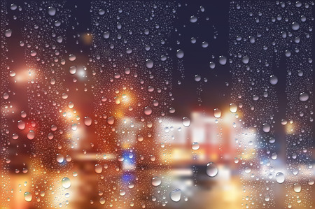 Vector Photo Realistic Image Of Raindrops On Window Glass At Night In The City