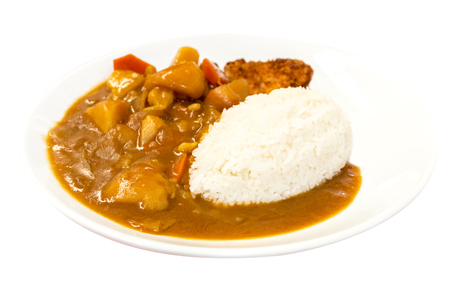 Foto de Japanese food, Rice with Pork Cutlet (Tonkatsu) and curry chicken on white background.Copy space.Clipping path - Imagen libre de derechos