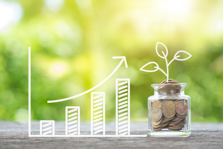 Foto für Plant growing in savings coins and growing graph on wooden. Investment and interest, maintenance concept - Lizenzfreies Bild
