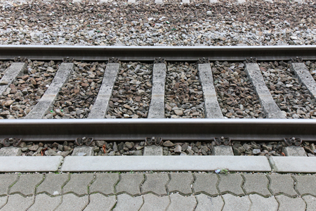 Foto per the railway crossing see on side. - Immagine Royalty Free