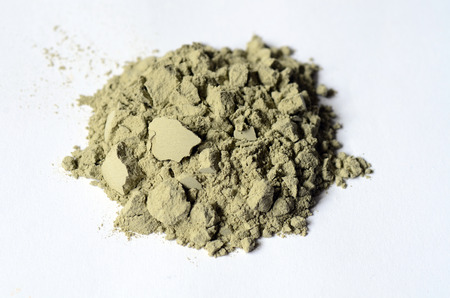 Foto de Green cosmetic clay powder close up image - Imagen libre de derechos