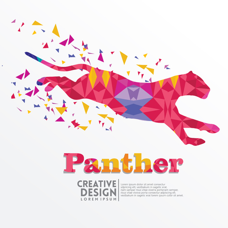 Illustrazione per Panther Geometric paper craft style, for sticker cutting, poster, card, education for children, publication, icon and publication - Immagini Royalty Free
