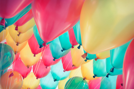Photo for colorful balloons with happy celebration party background - Royalty Free Image