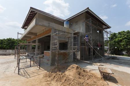 Foto de building residential construction house with scaffold steel for construction worker - Imagen libre de derechos