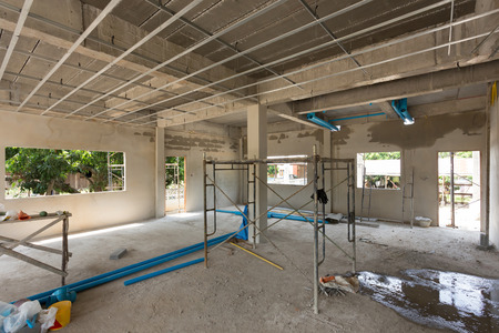 Photo pour construction site building with cement material structure - image libre de droit