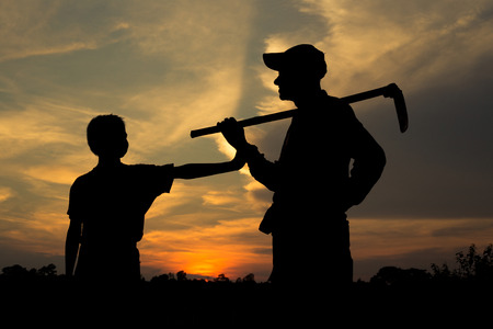 Foto für Silhouette, Farmer father and son - Lizenzfreies Bild