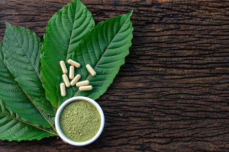 Foto de Mitragyna speciosa or kratom leaves with medicinal products in capsules and powder in white ceramic bowl and wooden table, top view - Imagen libre de derechos
