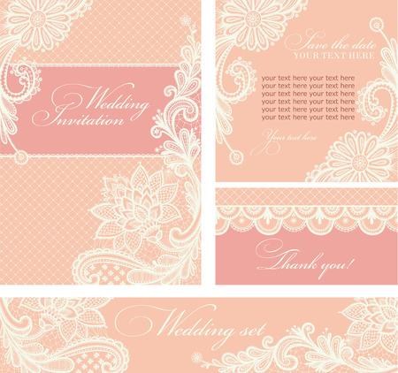 Illustration pour Set of wedding invitations and announcements with vintage lace background. - image libre de droit