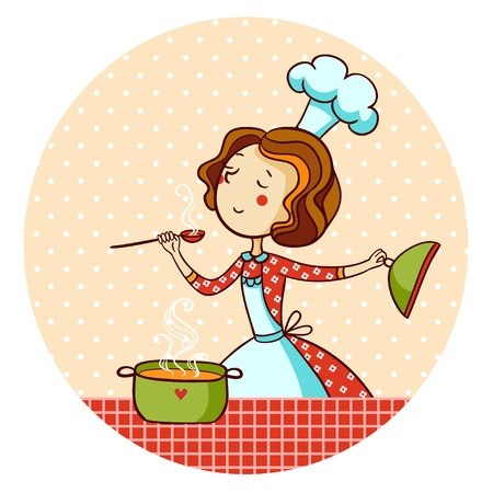 Ilustración de Woman cooking soup. Housewife cooking dinner. - Imagen libre de derechos
