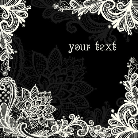 Illustration pour Black and white lace vector design. - image libre de droit