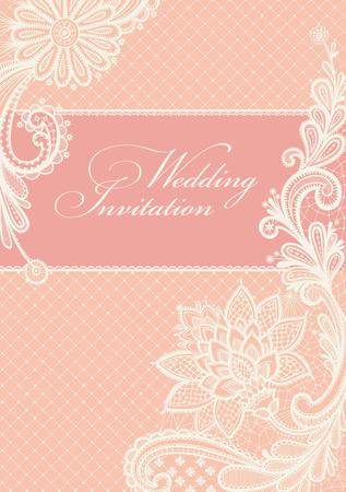 Photo pour Wedding invitations and announcements with vintage lace background. - image libre de droit