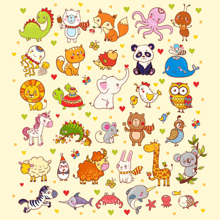 Illustration pour Vector illustration of a set of animals. - image libre de droit