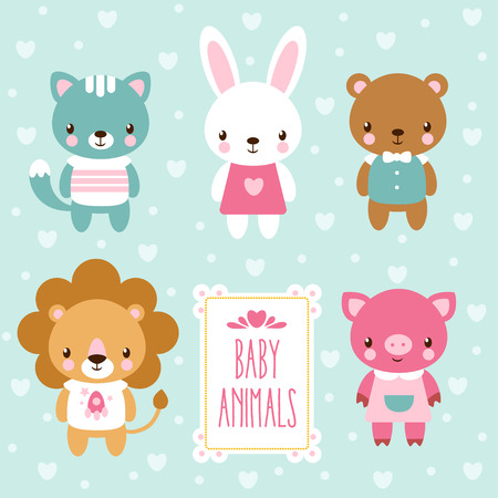Photo pour Vector illustration of baby animals. - image libre de droit