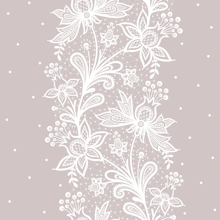 Illustration for Lace background vector illustration on a gray background. - Royalty Free Image