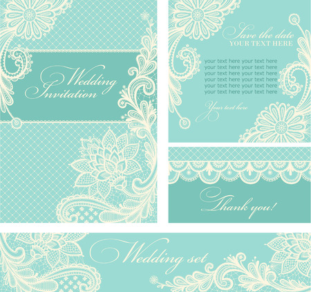 Illustration for Set of wedding invitations and announcements with vintage lace background. - Royalty Free Image