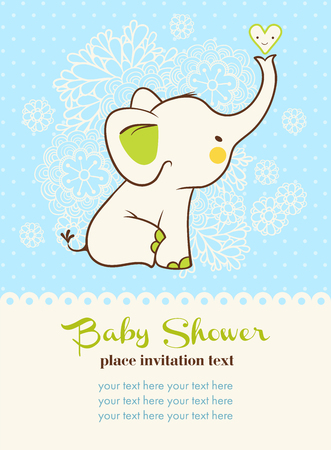 Ilustración de Children illustration with elephant and place for your text. - Imagen libre de derechos