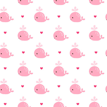 Illustration for Cute background with cartoon pink whales. Baby shower design. Seamless pattern can be used for wallpapers, pattern fills, web page backgrounds, surface textures. - Royalty Free Image