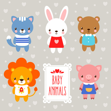 Illustration pour baby animals. set of cartoon animals on a gray background and the words. - image libre de droit