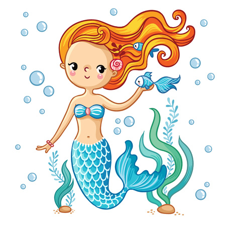 Ilustración de Sea collection, Mermaid. Cute swimming cartoon mermaid. Mermaid in vector illustration. - Imagen libre de derechos