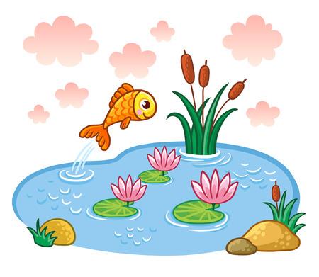 Ilustración de The fish jumps into the pond. Vector illustration with lake and fish. - Imagen libre de derechos