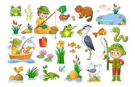 Illustration pour Vector set on a forest children theme. An animal pond. Children are fishing. Collection of vector illustration. - image libre de droit