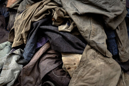 Dirty industrial clothes in a pile closeup