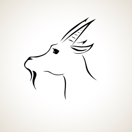 Illustration for vector stylized figure of a goat - Royalty Free Image
