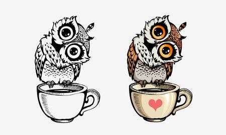 Ilustración de Cute owls collection color and line isolated on white. For coloring books, posters, print, t-shirt design element - Imagen libre de derechos
