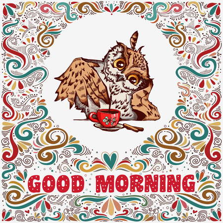 Illustration pour Good morning. Inspirational text with hand drawn cute owl and decoration elements for t-shirt and bags design, greeting card, print and banner - image libre de droit