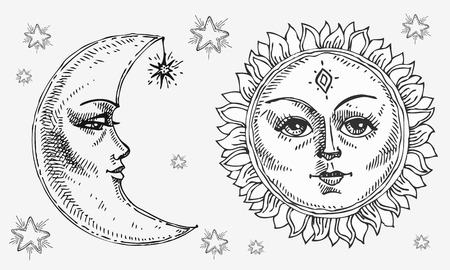 Ilustración de Sun and moon with face stylized as engraving. Can be used as print for T-shirts and bags, decor element. Day and night. Hand drawn Vector astrology symbol. - Imagen libre de derechos