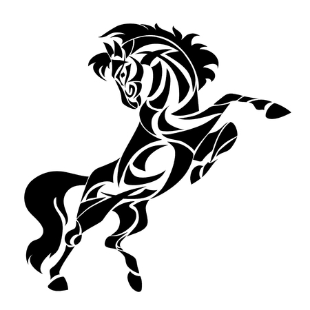 Ilustración de Vector silhouette of horse. Stylized illustration for design of a t-shirt, bag, postcard, tattoo and signage. - Imagen libre de derechos
