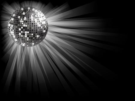 Ilustración de Disco ball silver on a black background with rays of light . - Imagen libre de derechos