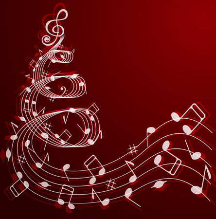 Illustration pour Notes and treble clef in the shape of a Christmas tree on a red background . - image libre de droit