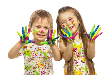Photo for Funny little girl and boy with hands painted in colorful paint  Isolated on white background  - Royalty Free Image