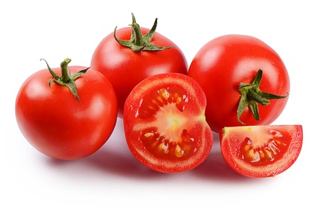 Photo pour Red fresh tomatoes isolated on white background - image libre de droit