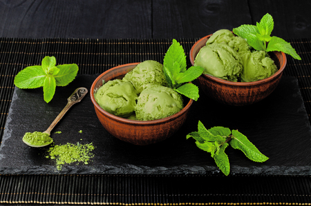 Photo for Green tea matcha mint ice cream with coconut milk - Royalty Free Image