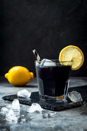 Foto de Detox activated charcoal black lemonade. Copy space. - Imagen libre de derechos