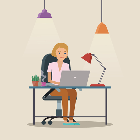 Illustration pour Man vector character working in the creative office or home. Freelance work. Workspace vector illustration. - image libre de droit
