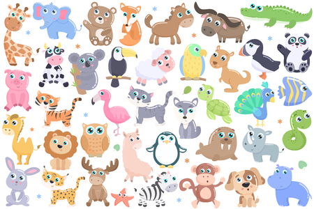 Illustrazione per Cute cartoon animals set. - Immagini Royalty Free