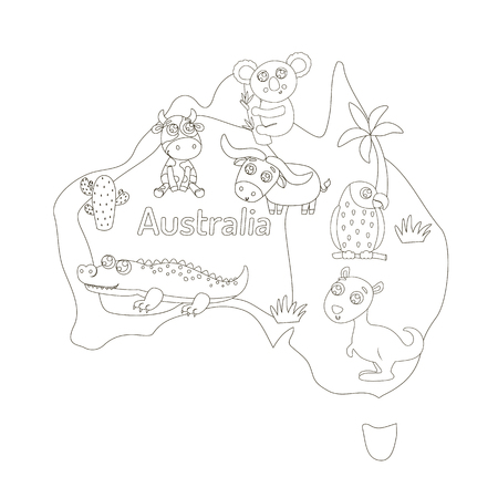 Illustration pour Coloring page with animal map of Australia for kids. - image libre de droit