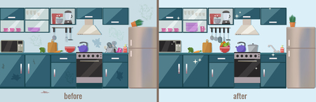 Illustration pour Kitchen before and after cleaning vector flat illustration. - image libre de droit