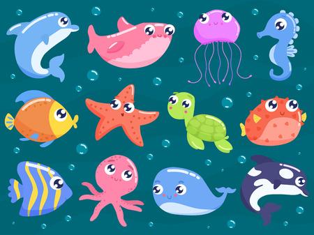 Ilustración de Cute sea animals set - Imagen libre de derechos